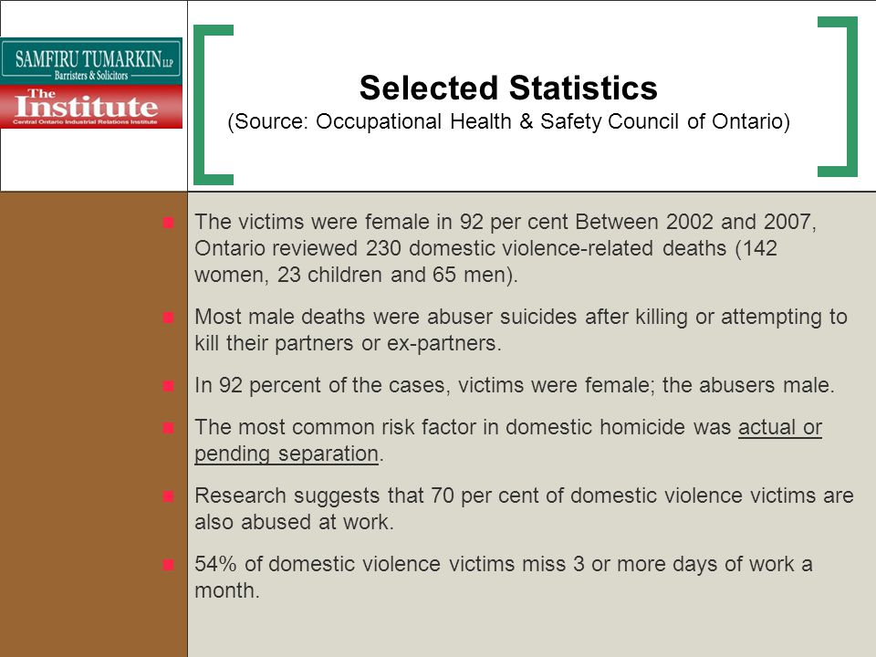 Selected Statistics (Source: Occupational Health & Safety Council of Ontario) The victims were female in 92 per cent Between 2002 and 2007, Ontario re