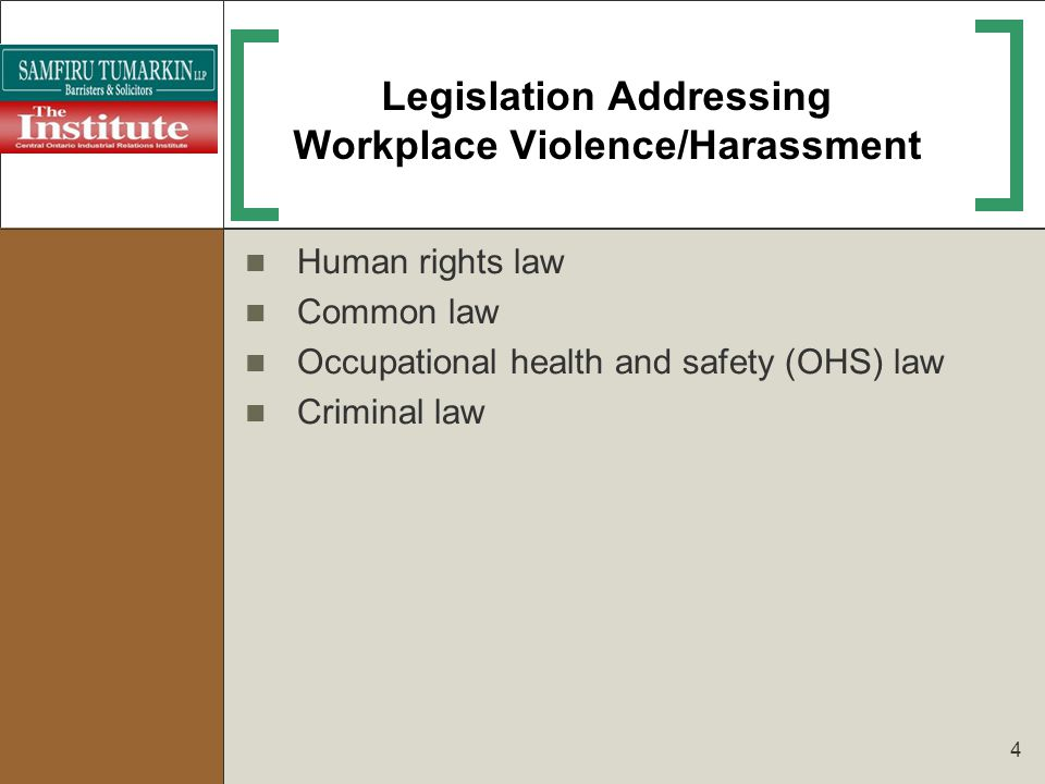 Four Major Sources of Workplace Violence Worker-on-worker (between co-workers or from former employee) Those with legitimate relationship to organization (customers, clients, patients) Strangers, no legitimate relationship to organization (criminals, random violence) Those with personal connection to intended victim (e.g., domestic violence that manifests itself in the workplace)