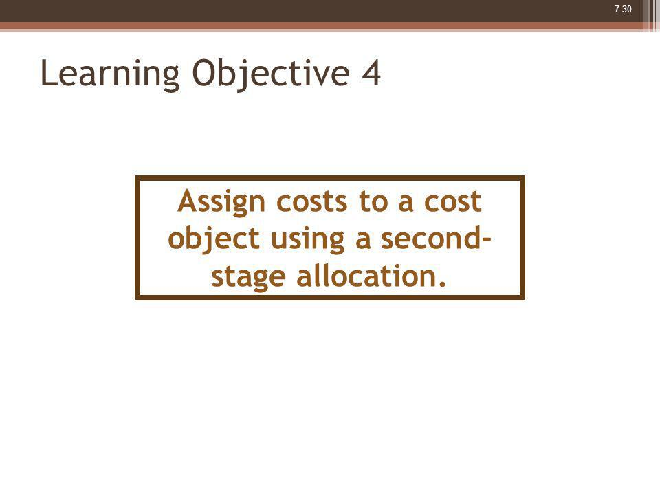 7-30 Learning Objective 4 Assign costs to a cost object using a second- stage allocation.