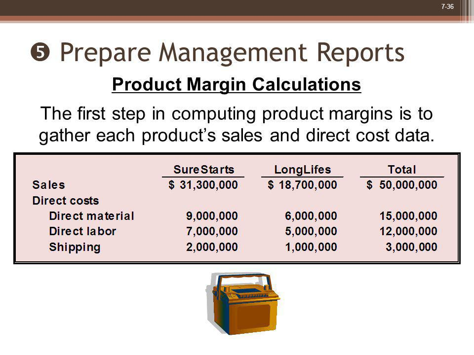 7-36 Prepare Management Reports Product Margin Calculations The first step in computing product margins is to gather each products sales and direct co