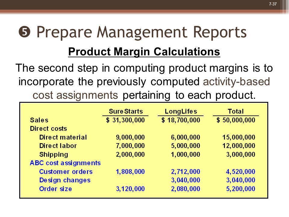 7-37 Prepare Management Reports Product Margin Calculations The second step in computing product margins is to incorporate the previously computed act