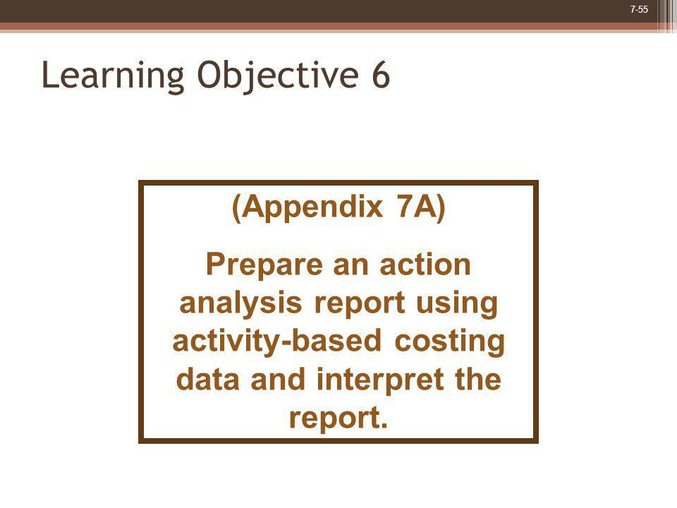 7-55 Learning Objective 6 (Appendix 7A) Prepare an action analysis report using activity-based costing data and interpret the report.