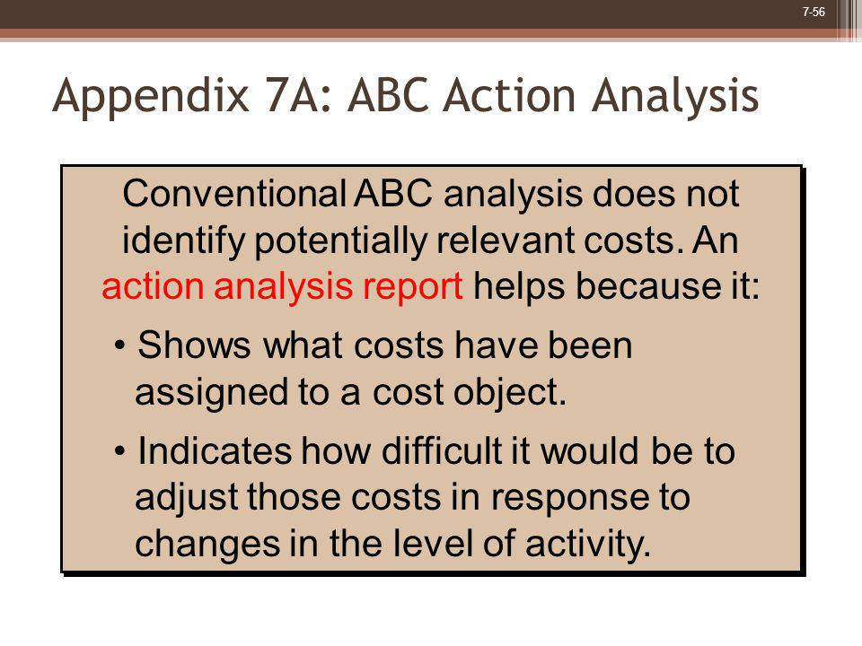 7-56 Appendix 7A: ABC Action Analysis Conventional ABC analysis does not identify potentially relevant costs. An action analysis report helps because