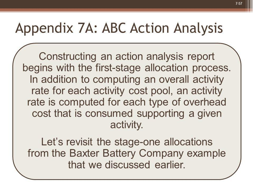 7-57 Constructing an action analysis report begins with the first-stage allocation process. In addition to computing an overall activity rate for each