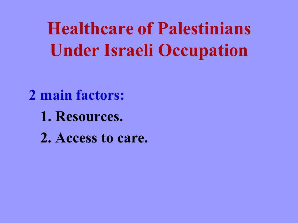 Healthcare of Palestinians Under Israeli Occupation 2 main factors: 1.