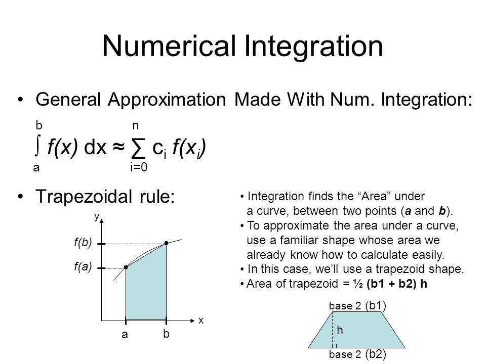 Numerical Integration General Approximation Made With Num. Integration: b n f(x) dx c i f(x i ) a i=0 Trapezoidal rule: a f(b) f(a) x y Integration fi