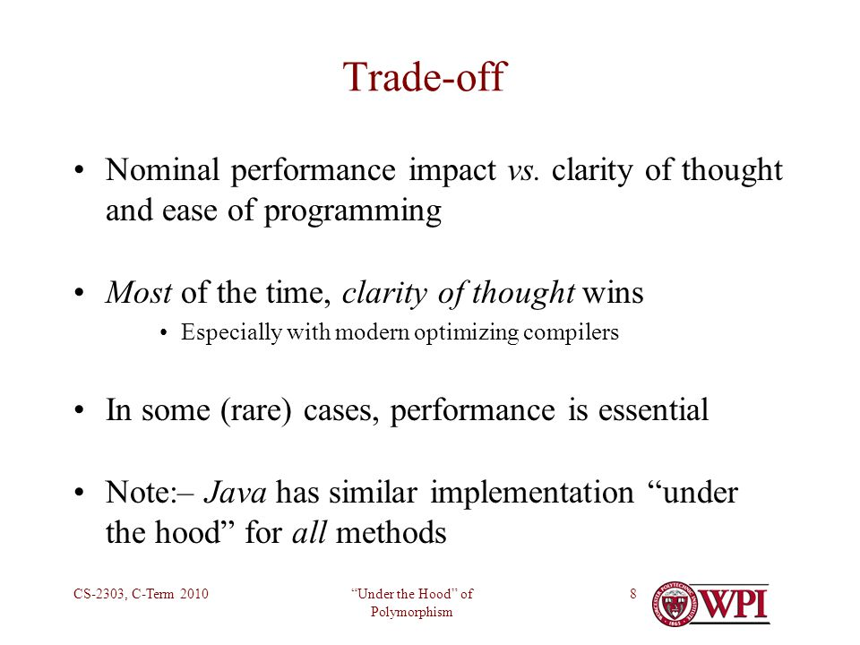 Under the Hood of Polymorphism CS-2303, C-Term 20108 Trade-off Nominal performance impact vs.