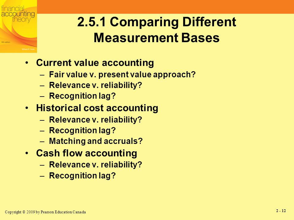Copyright © 2009 by Pearson Education Canada 2 - 12 2.5.1 Comparing Different Measurement Bases Current value accounting –Fair value v.