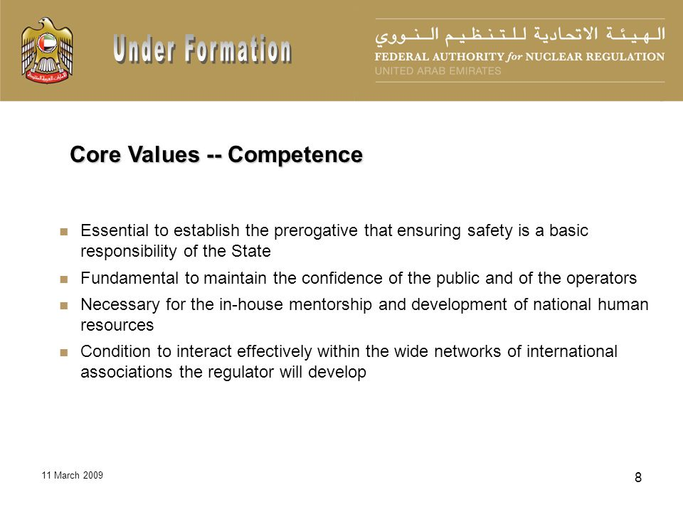 11 March 2009 9 Recruiting a core team of experienced international personnel having a strong training and mentoring background Developing a skilled cadre of UAE National personnel in nuclear safety regulation through in-house mentoring, training, and leveraging opportunities Sustainability of the UAE program depends on effective development of national workforce planning Human Resource Development