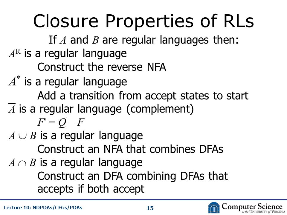 15 Lecture 10: NDPDAs/CFGs/PDAs Closure Properties of RLs If A and B are regular languages then: A R is a regular language Construct the reverse NFA A