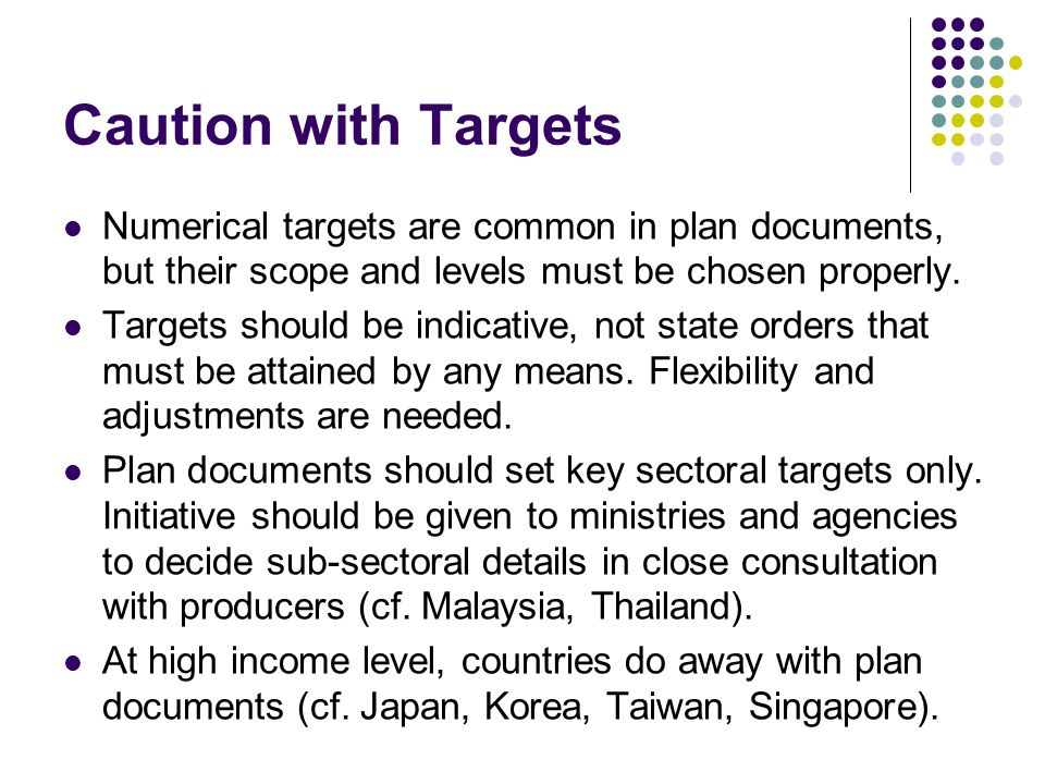 Caution with Targets Numerical targets are common in plan documents, but their scope and levels must be chosen properly.