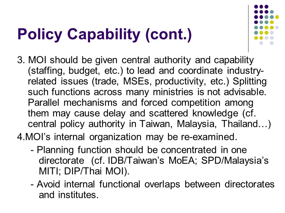 Policy Capability (cont.) 3.