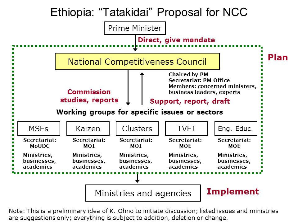 Ethiopia: Tatakidai Proposal for NCC National Competitiveness Council Ministries and agencies Working groups for specific issues or sectors Plan Support, report, draft Implement Prime Minister Direct, give mandate MSEs Commission studies, reports Chaired by PM Secretariat: PM Office Members: concerned ministers, business leaders, experts Eng.