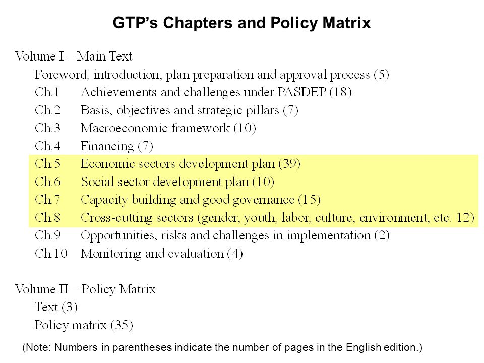 GTPs Chapters and Policy Matrix (Note: Numbers in parentheses indicate the number of pages in the English edition.)
