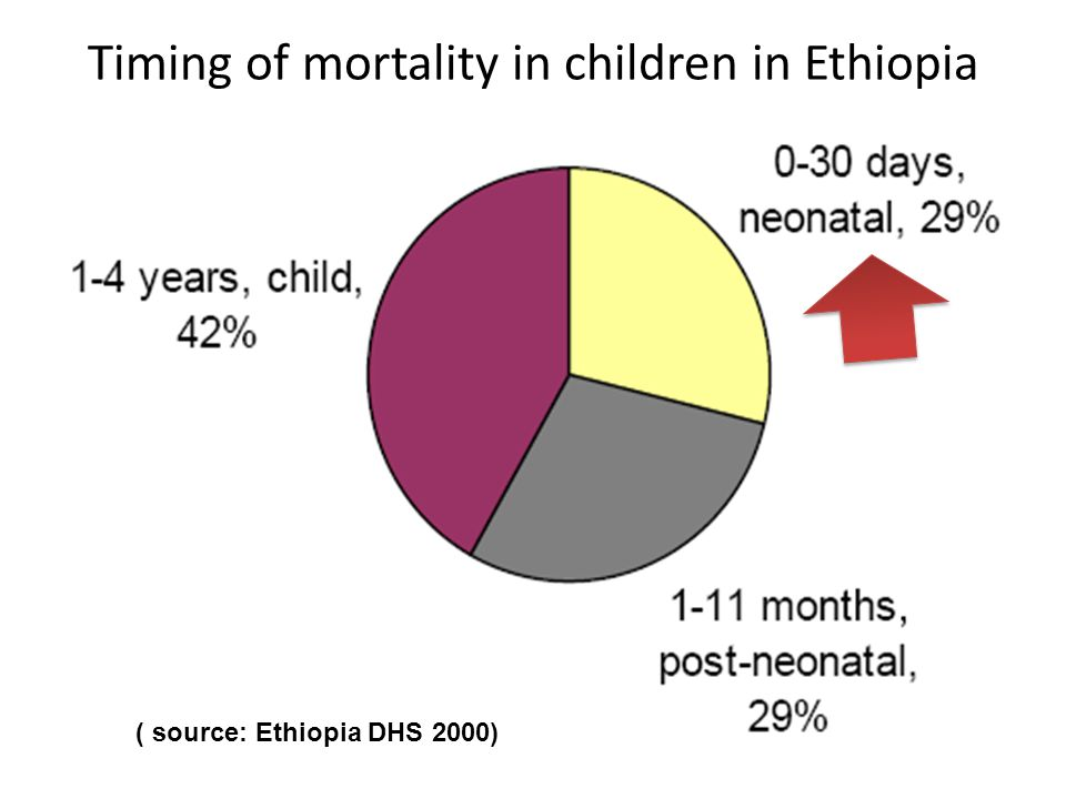 Timing of mortality in children in Ethiopia ( source: Ethiopia DHS 2000)