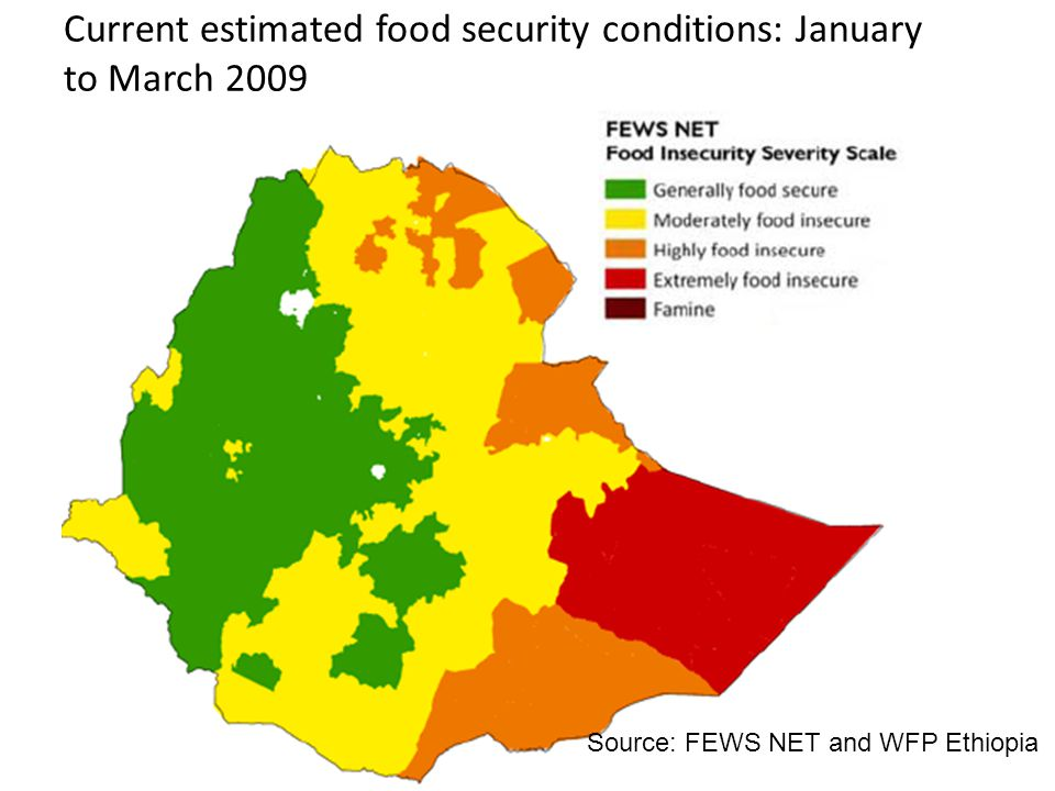 Current estimated food security conditions: January to March 2009 Source: FEWS NET and WFP Ethiopia