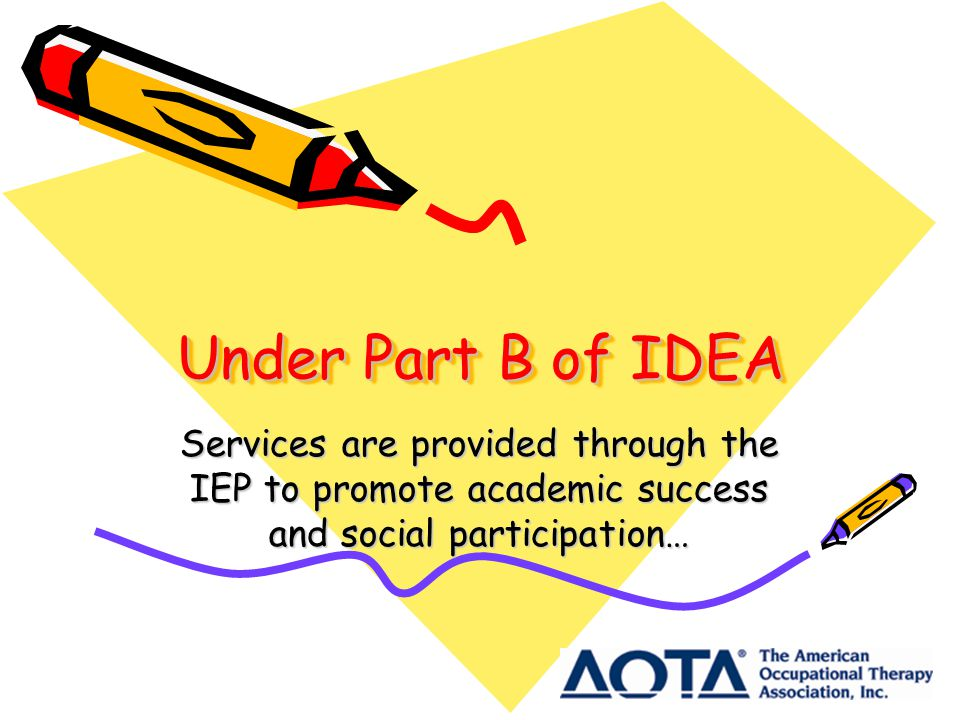 Under Part B of IDEA Services are provided through the IEP to promote academic success and social participation…