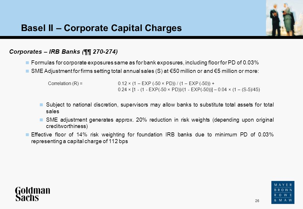 26 Source: Text Basel II – Corporate Capital Charges Corporates – IRB Banks (¶¶ 270-274) Formulas for corporate exposures same as for bank exposures,