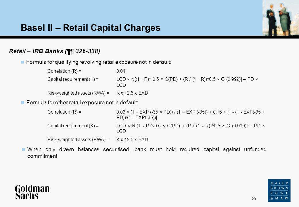 29 Source: Text Basel II – Retail Capital Charges Retail – IRB Banks (¶¶ 326-338) When only drawn balances securitised, bank must hold required capita