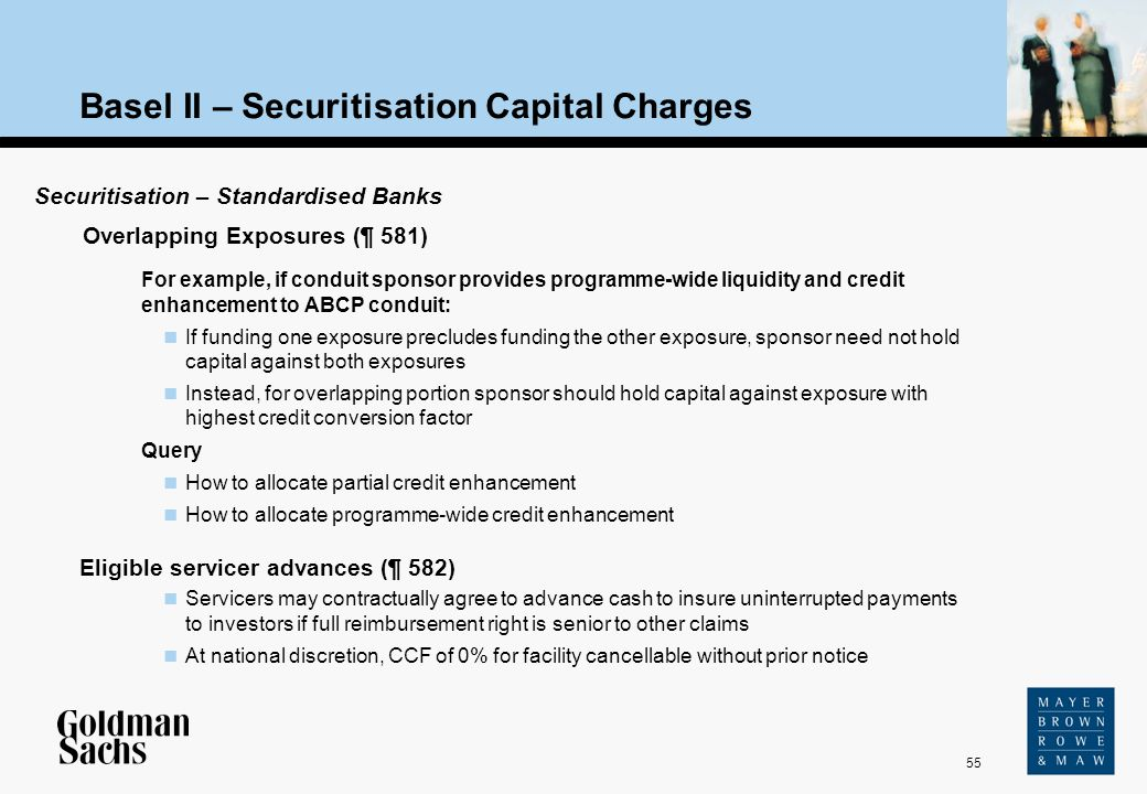 55 For example, if conduit sponsor provides programme-wide liquidity and credit enhancement to ABCP conduit: If funding one exposure precludes funding