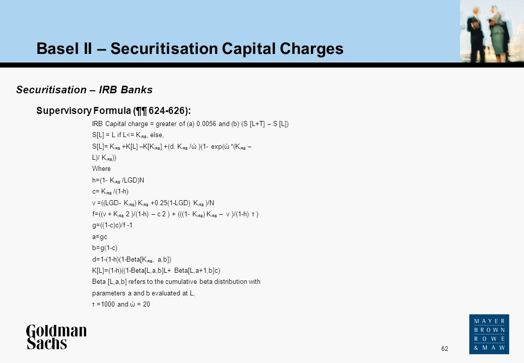 62 Source: Text Basel II – Securitisation Capital Charges Securitisation – IRB Banks Supervisory Formula (¶¶ 624-626): IRB Capital charge = greater of
