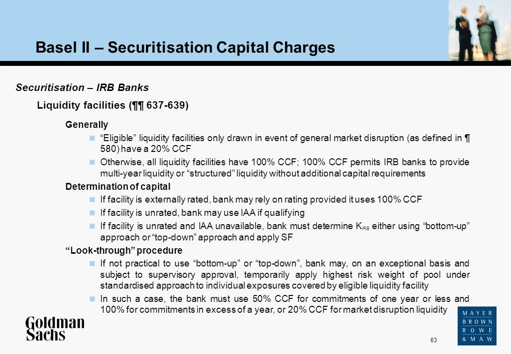 63 Source: Text Basel II – Securitisation Capital Charges Securitisation – IRB Banks Generally Eligible liquidity facilities only drawn in event of ge