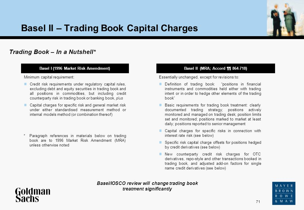 71 Source: Text Basel II – Trading Book Capital Charges Basel I (1996 Market Risk Amendment) Trading Book – In a Nutshell* Basel II (MRA; Accord ¶¶ 86