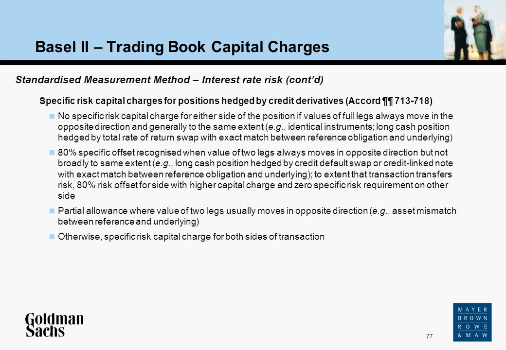 77 Source: Text Basel II – Trading Book Capital Charges Specific risk capital charges for positions hedged by credit derivatives (Accord ¶¶ 713-718) N