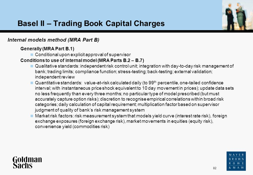 82 Source: Text Basel II – Trading Book Capital Charges Internal models method (MRA Part B) Generally (MRA Part B.1) Conditional upon explicit approva