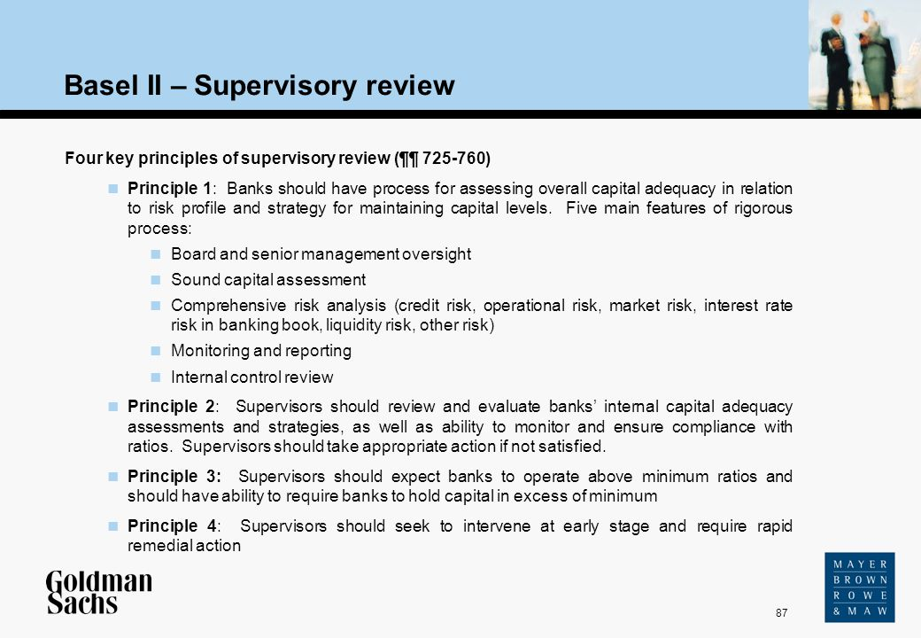 87 Source: Text Basel II – Supervisory review Four key principles of supervisory review (¶¶ 725-760) Principle 1: Banks should have process for assess
