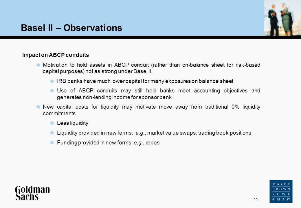 99 Source: Text Basel II – Observations Impact on ABCP conduits Motivation to hold assets in ABCP conduit (rather than on-balance sheet for risk-based