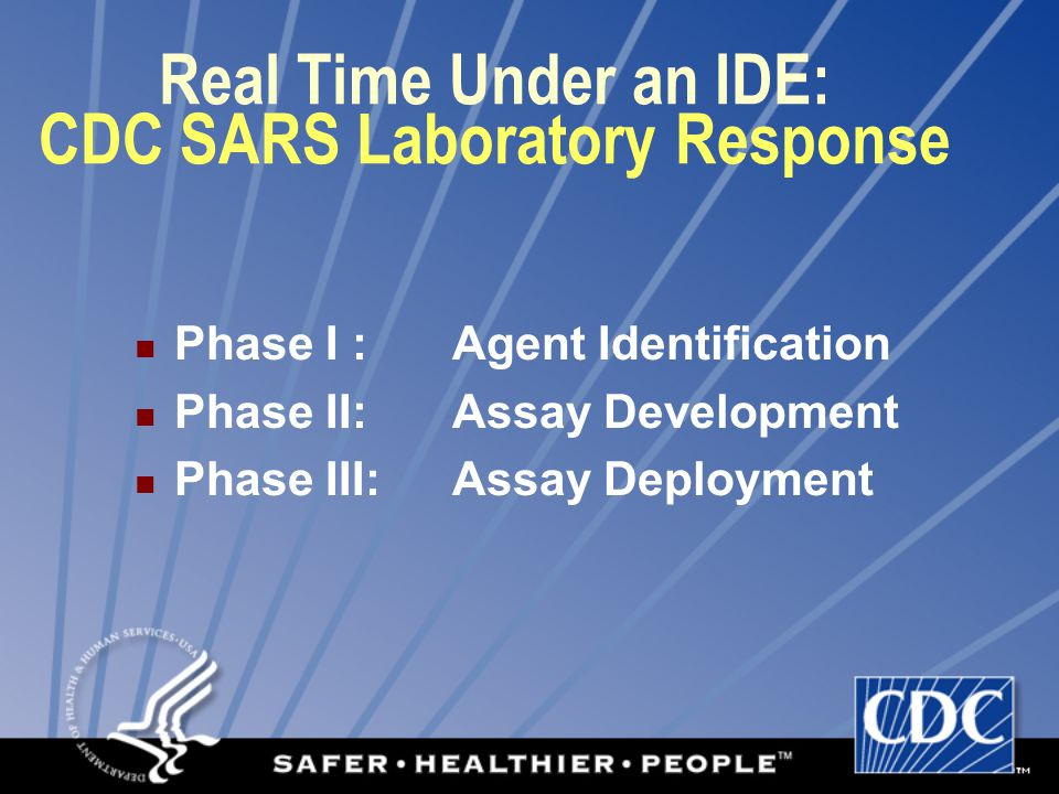 CDC SARS Laboratory Response – Phase I : March 2003 1 2345678 9101112131415 1617181920212 23242526272829 3031 March 14: Outbreak investigation organized March 15-16-17 : Samples arrived from Toronto, Thailand March 18-22: Virus isolated by cell culture, identified by EM and IFA assay March 23-24: Virus verified by PCR and sequencing; prototype ELISA developed