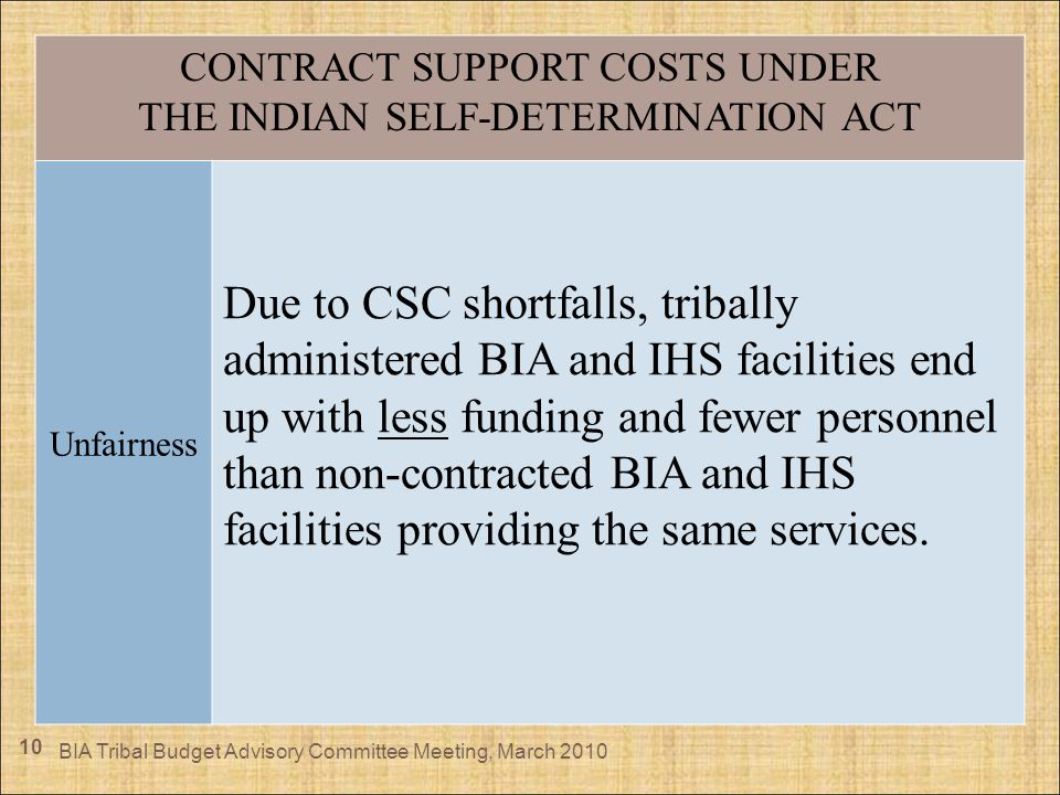 10 CONTRACT SUPPORT COSTS UNDER THE INDIAN SELF-DETERMINATION ACT Unfairness Due to CSC shortfalls, tribally administered BIA and IHS facilities end u