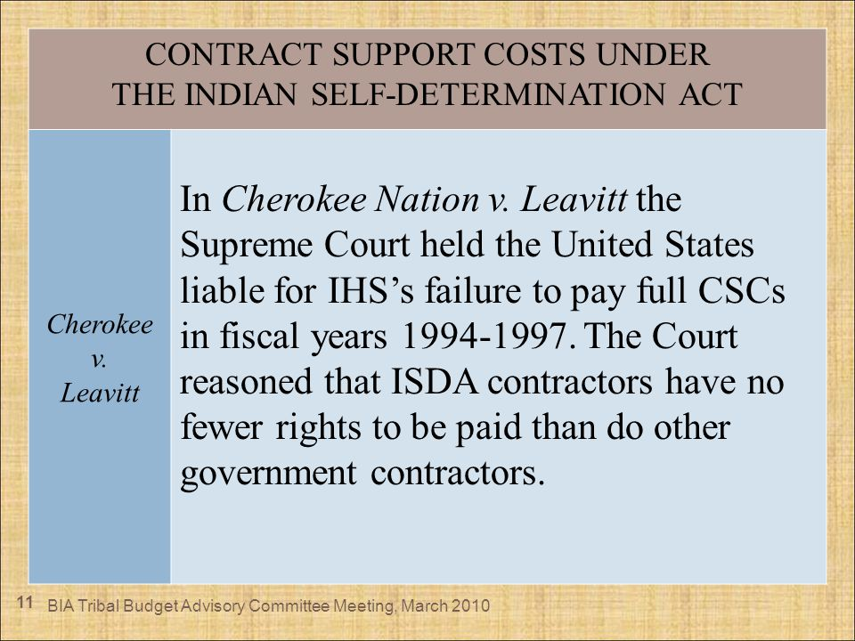 11 CONTRACT SUPPORT COSTS UNDER THE INDIAN SELF-DETERMINATION ACT Cherokee v. Leavitt In Cherokee Nation v. Leavitt the Supreme Court held the United