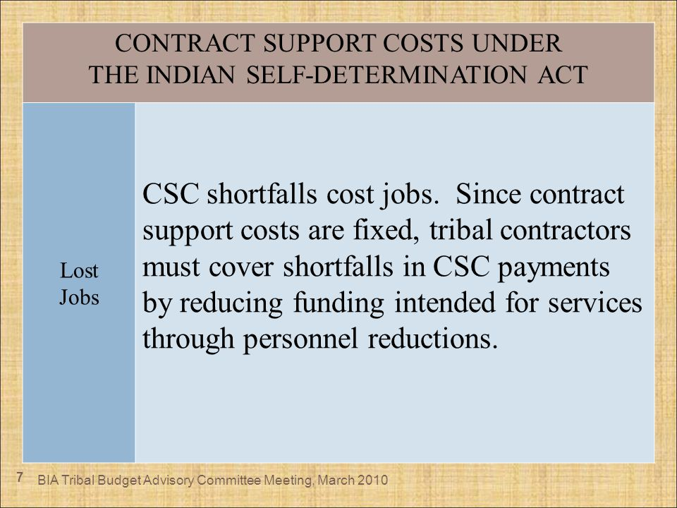 7 CONTRACT SUPPORT COSTS UNDER THE INDIAN SELF-DETERMINATION ACT Lost Jobs CSC shortfalls cost jobs. Since contract support costs are fixed, tribal co