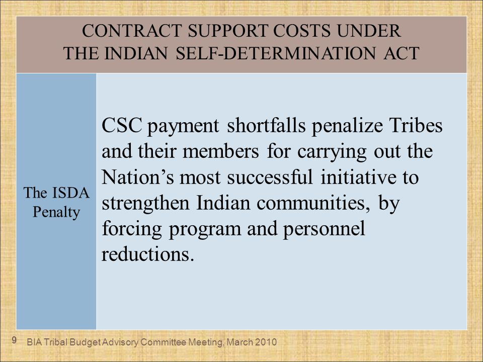 9 CONTRACT SUPPORT COSTS UNDER THE INDIAN SELF-DETERMINATION ACT The ISDA Penalty CSC payment shortfalls penalize Tribes and their members for carryin