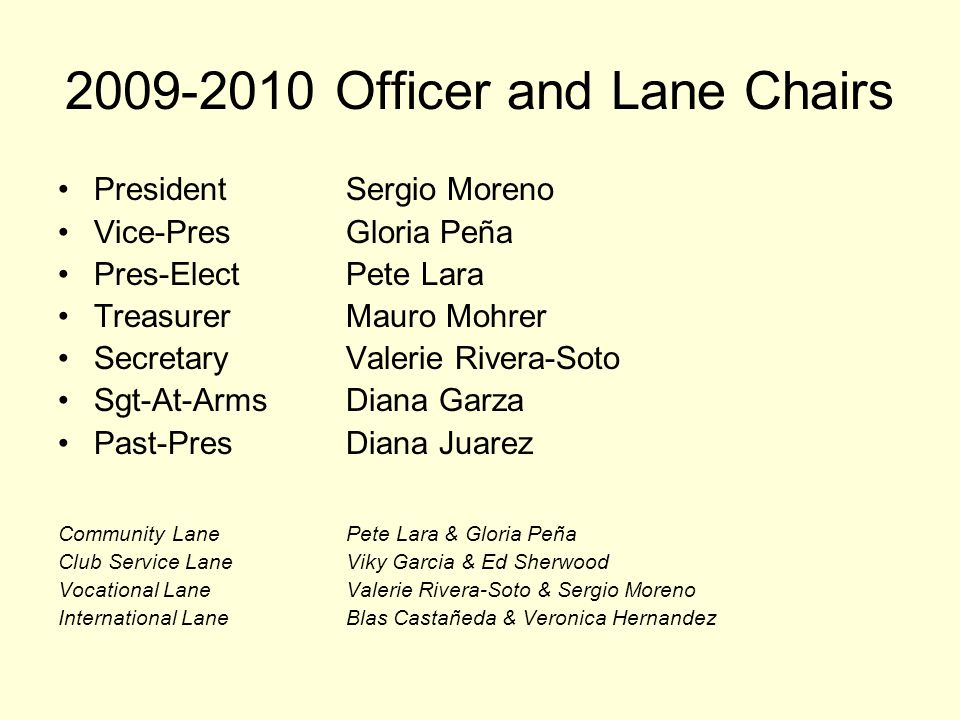 2009-2010 Officer and Lane Chairs President Sergio Moreno Vice-Pres Gloria Peña Pres-Elect Pete Lara Treasurer Mauro Mohrer Secretary Valerie Rivera-Soto Sgt-At-Arms Diana Garza Past-Pres Diana Juarez Community Lane Pete Lara & Gloria Peña Club Service LaneViky Garcia & Ed Sherwood Vocational LaneValerie Rivera-Soto & Sergio Moreno International LaneBlas Castañeda & Veronica Hernandez