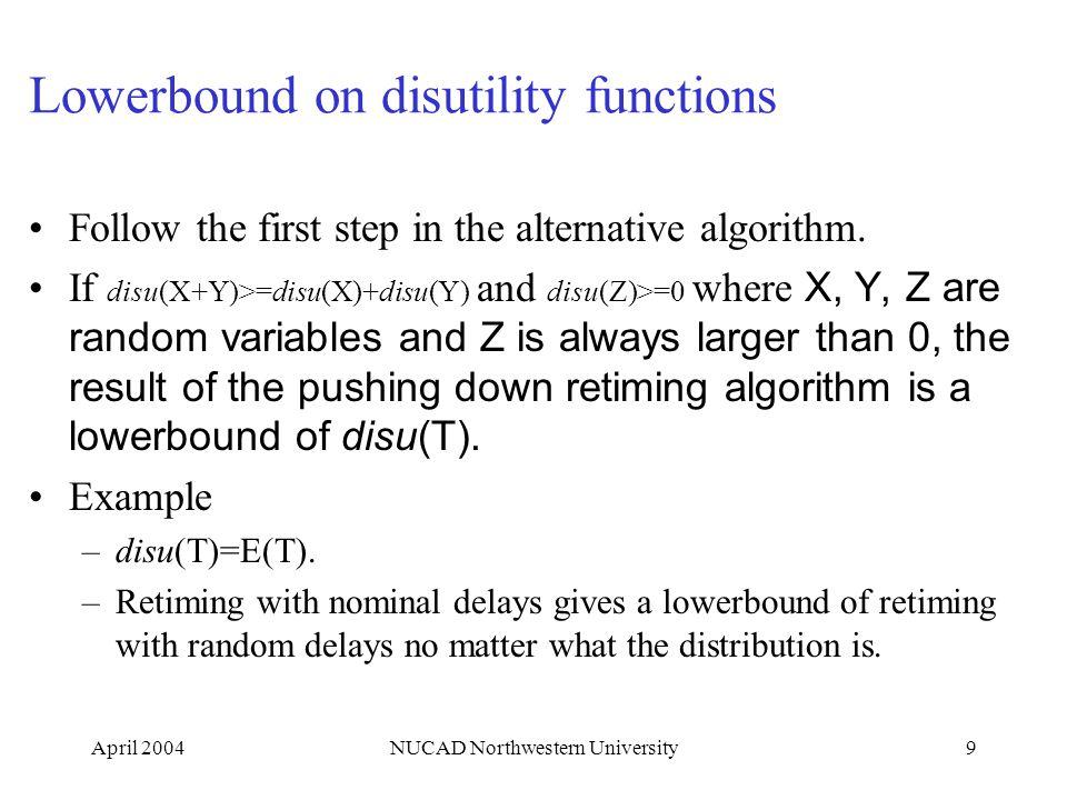 April 2004NUCAD Northwestern University9 Lowerbound on disutility functions Follow the first step in the alternative algorithm. If disu(X+Y)>=disu(X)+