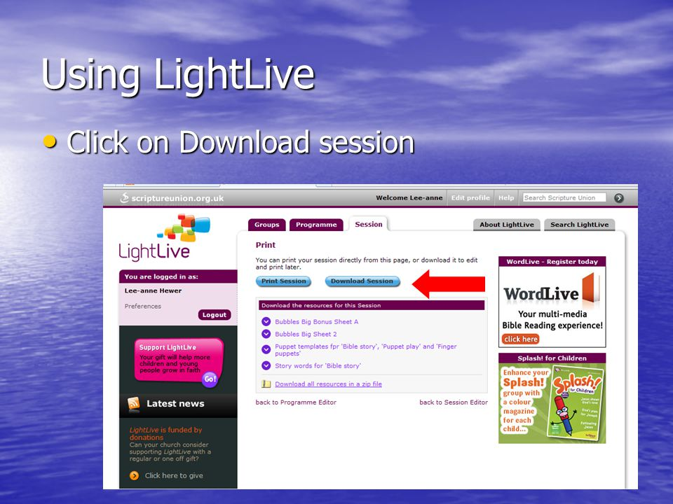 Using LightLive Click on Download session Click on Download session