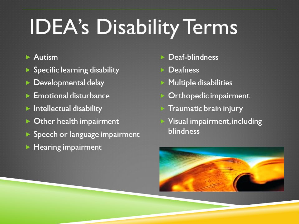IDEAs Disability Terms Autism Specific learning disability Developmental delay Emotional disturbance Intellectual disability Other health impairment S