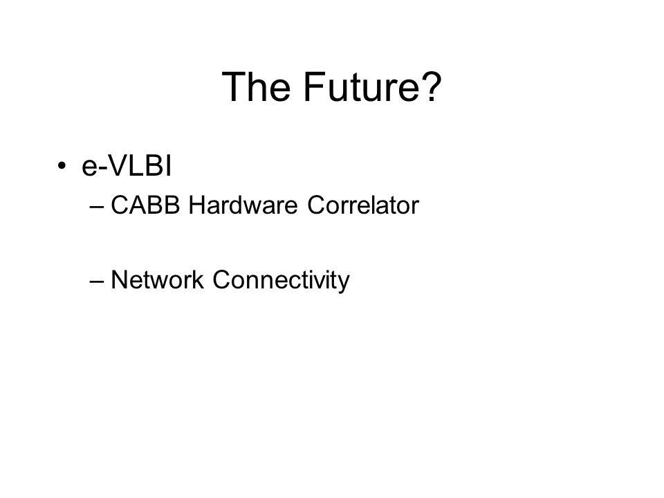 The Future? e-VLBI –CABB Hardware Correlator –Network Connectivity