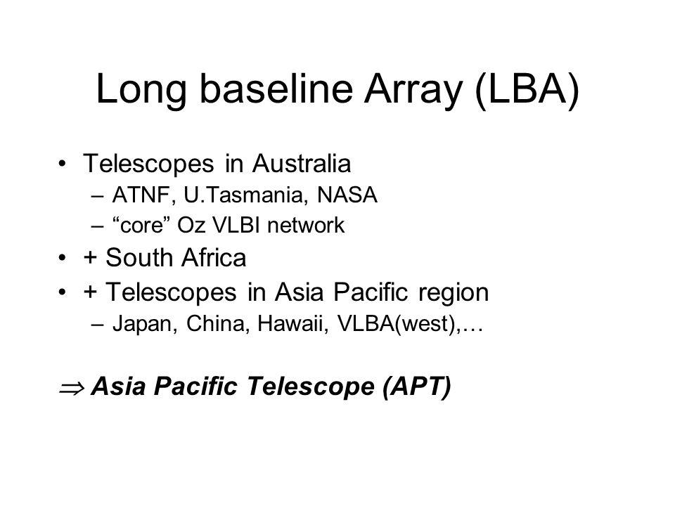Long baseline Array (LBA) Telescopes in Australia –ATNF, U.Tasmania, NASA –core Oz VLBI network + South Africa + Telescopes in Asia Pacific region –Ja