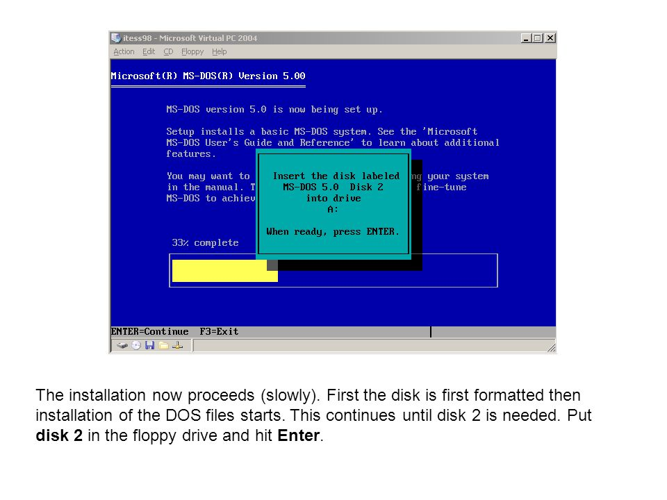 The installation now proceeds (slowly). First the disk is first formatted then installation of the DOS files starts. This continues until disk 2 is ne