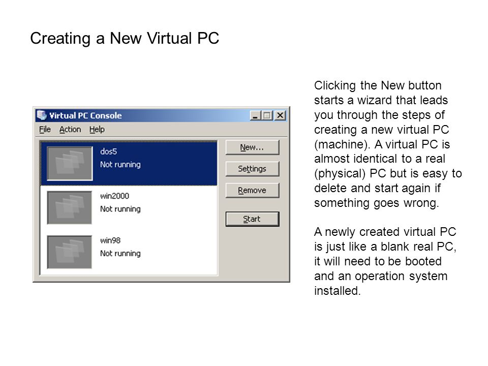 Creating a New Virtual PC Clicking the New button starts a wizard that leads you through the steps of creating a new virtual PC (machine). A virtual P