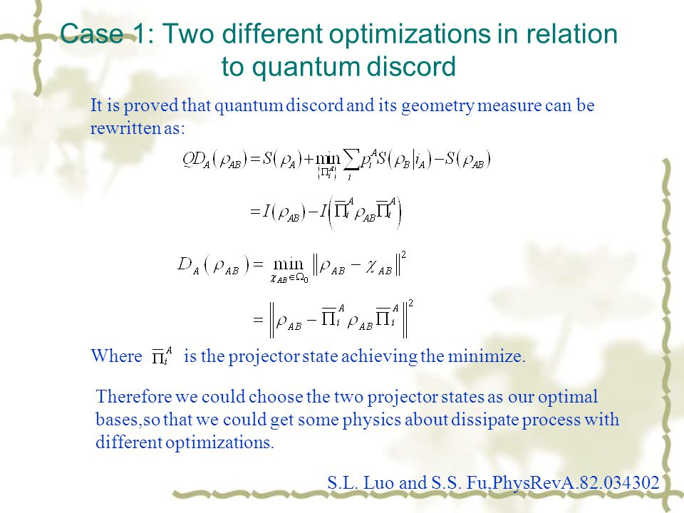 Case 1: Two different optimizations in relation to quantum discord It is proved that quantum discord and its geometry measure can be rewritten as: Whe