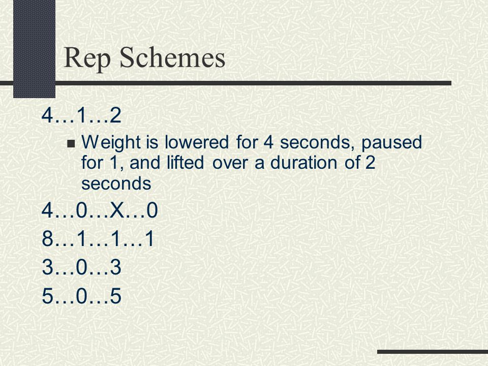 The Details Literally quantify the time your muscles are under tension Time it takes for each repetition, multiplied by number of reps Example If your tempo is 2-1-2-1 then each rep takes about 6 seconds.