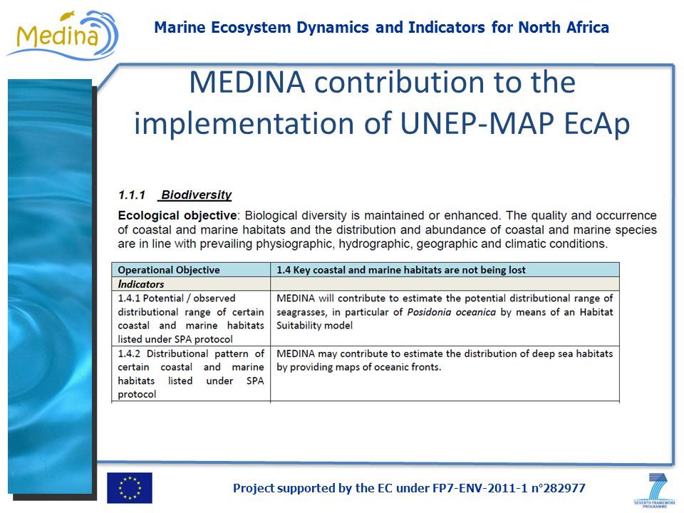 Project supported by the EC under FP7-ENV-2011-1 n°282977 Marine Ecosystem Dynamics and Indicators for North Africa MEDINA contribution to the implementation of UNEP-MAP EcAp