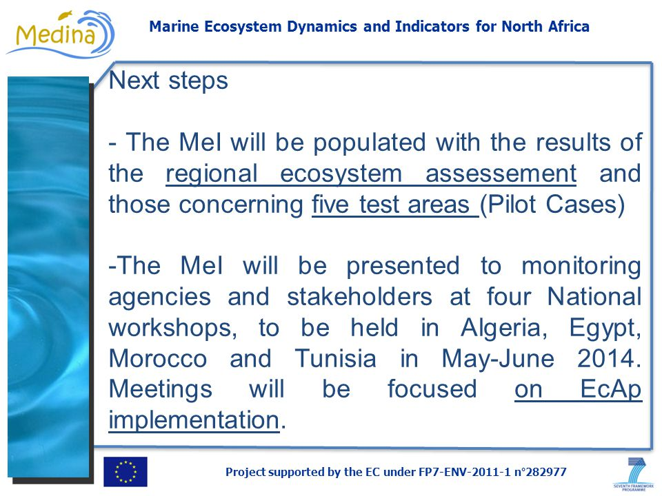 Project supported by the EC under FP7-ENV-2011-1 n°282977 Marine Ecosystem Dynamics and Indicators for North Africa Next steps - The MeI will be populated with the results of the regional ecosystem assessement and those concerning five test areas (Pilot Cases) -The MeI will be presented to monitoring agencies and stakeholders at four National workshops, to be held in Algeria, Egypt, Morocco and Tunisia in May-June 2014.