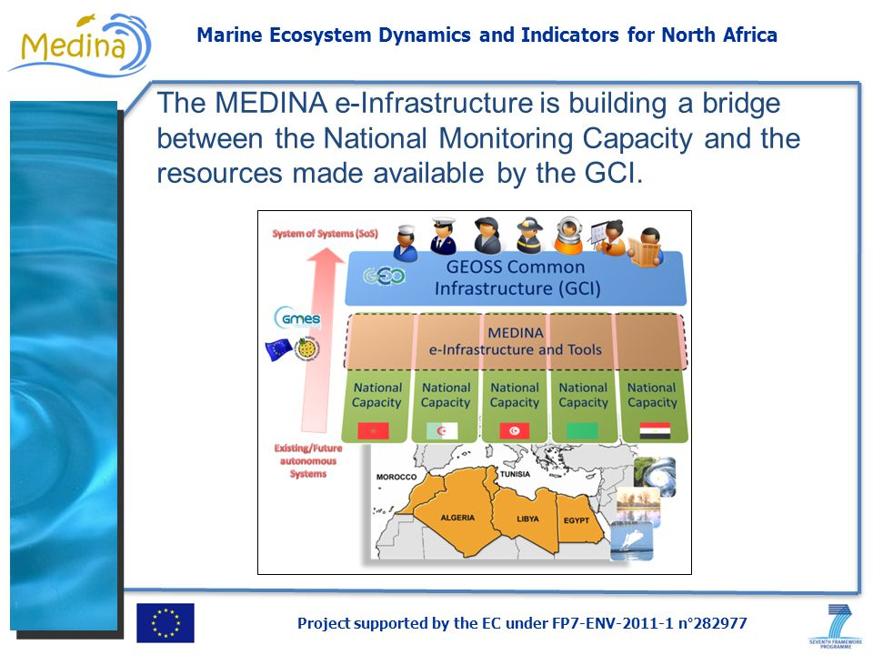 Project supported by the EC under FP7-ENV-2011-1 n°282977 Marine Ecosystem Dynamics and Indicators for North Africa The MEDINA e-Infrastructure is building a bridge between the National Monitoring Capacity and the resources made available by the GCI.