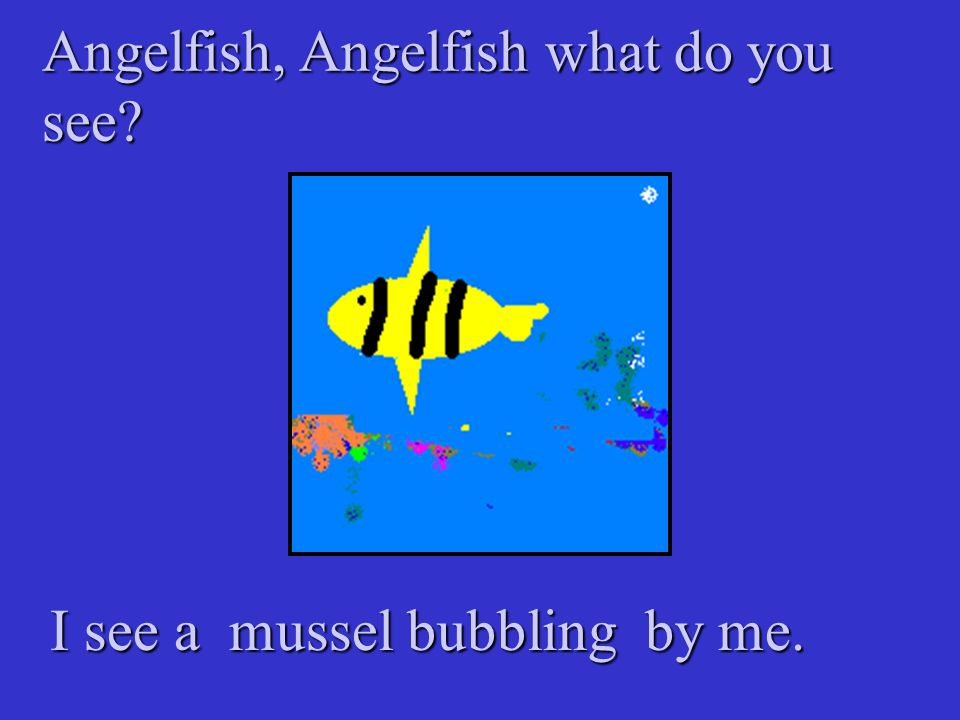 Angelfish, Angelfish what do you see? I see a mussel bubbling by me.